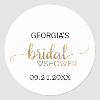 Simple Gold Calligraphy Bridal Shower Classic Round Sticker