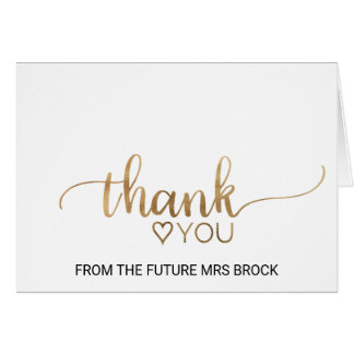 Simple Gold Calligraphy Bridal Shower Thank You Card