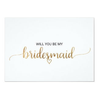 Simple Gold Calligraphy Bridesmaid Proposal Card