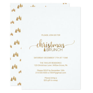 Simple Gold Calligraphy Christmas Brunch Card