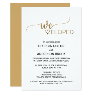 Simple Gold Calligraphy Elopement Card