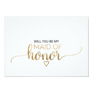 Simple Gold Calligraphy Maid Of Honor Proposal Card