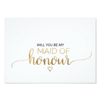 Simple Gold Calligraphy Maid Of Honour Proposal Card