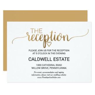 Simple Gold Calligraphy Reception Insert Card