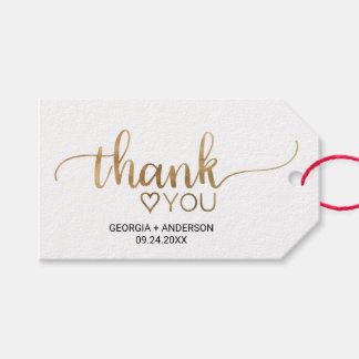 "Simple Gold Calligraphy ""Thank You"" Wedding Gift Tags"