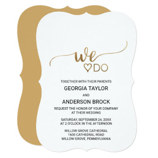 """Simple Gold Calligraphy """"We Do"""" Wedding Card"""