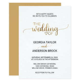 Simple Gold Calligraphy Wedding Card