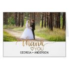 Simple Gold Calligraphy Wedding Photo Thank You Card