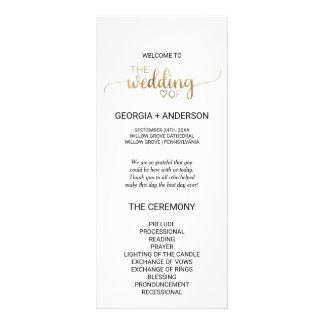Simple Gold Calligraphy Wedding Program Rack Card