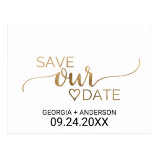 Simple Gold Calligraphy Wedding Save the Date Postcard