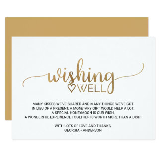 Simple Gold Calligraphy Wedding Wishing Well Card