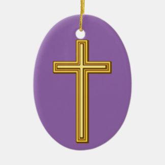 Simple Gold Christian Cross Ceramic Oval Decoration