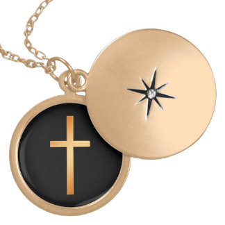 Simple Gold Christian Cross on Black Gold Plated Necklace