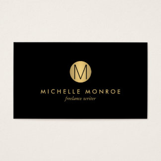 Simple Gold Circle Monogram Professional Black