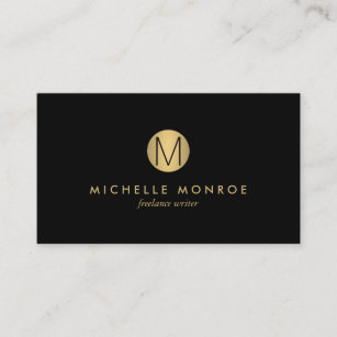 Simple Gold Circle Monogram Professional Black Business Card