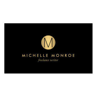 Simple Gold Circle Monogram Professional Black Pack Of Standard Business Cards