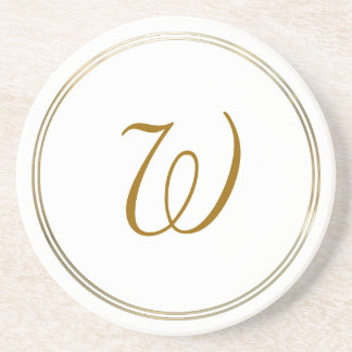 Simple Gold Circles and Monogram Template Coaster