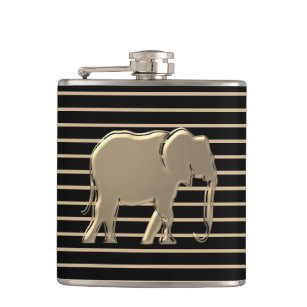Simple Gold Elephant Silhouette | Wild Animal Glam Hip Flask