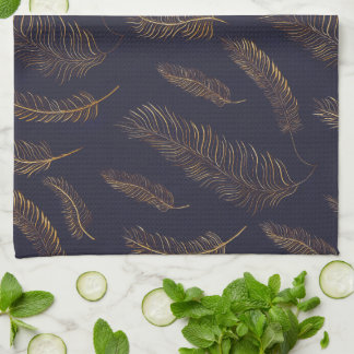 Simple Gold Feather Printed Tea Towel