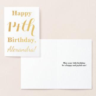 Simple Gold Foil 14th Birthday + Custom Name Foil Card