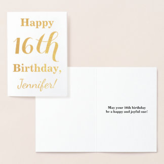 Simple Gold Foil 16th Birthday + Custom Name Foil Card