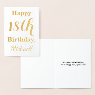 Simple Gold Foil 18th Birthday + Custom Name Foil Card