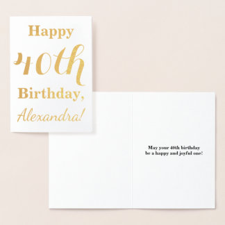 Simple Gold Foil 40th Birthday + Custom Name Foil Card
