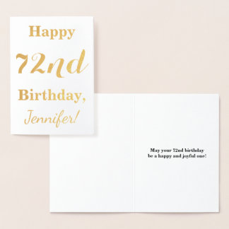 "Simple Gold Foil ""HAPPY 72nd BIRTHDAY"" + Name Foil Card"