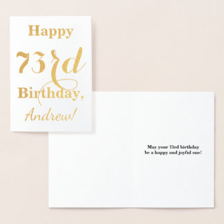 """Simple Gold Foil """"HAPPY 73rd BIRTHDAY"""" + Name Foil Card"""