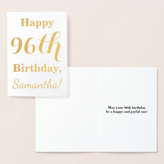 """Simple Gold Foil """"HAPPY 96th BIRTHDAY"""" + Name Foil Card"""