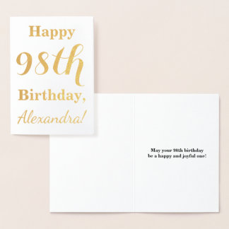 "Simple Gold Foil ""HAPPY 98th BIRTHDAY"" + Name Foil Card"