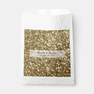 Simple Gold Glitter Printed Wedding Favour Bags