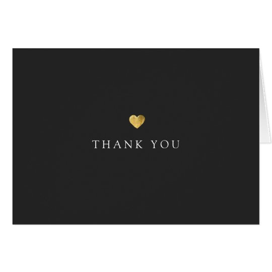 Simple Gold Heart Thank You Black Card