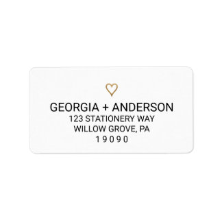 Simple Gold Heart Wedding Label