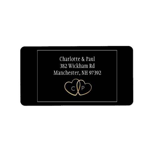 Simple Gold Heart Wedding Return Address Label