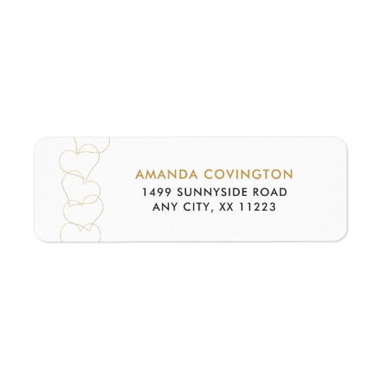 Simple Gold hearts wedding address labels