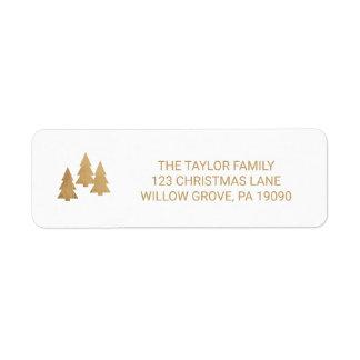 Simple Gold Pine Tree Christmas Return Address Label