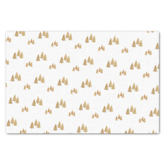 Simple Gold Pine Tree Pattern Christmas Tissue Paper