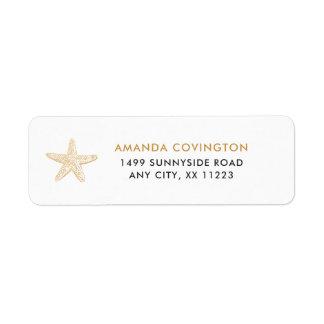 Simple Gold Starfish shell wedding address labels