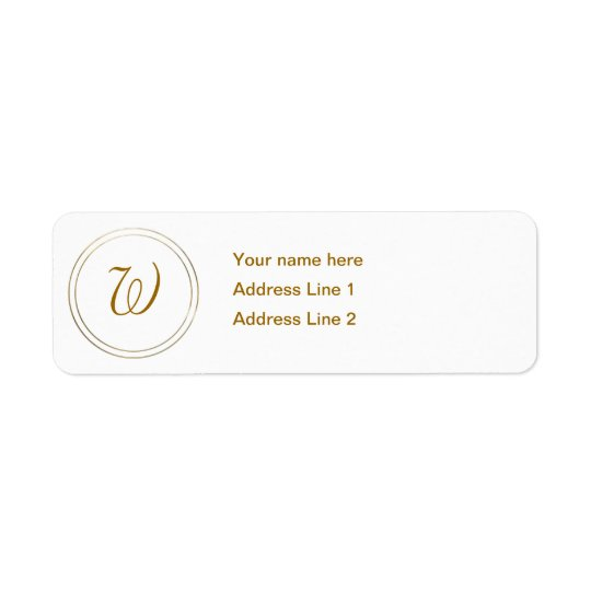 Simple Gold Stripes and Monogram Template Return Address Label