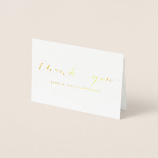 Simple Gold Thank You Notecard Foil Card