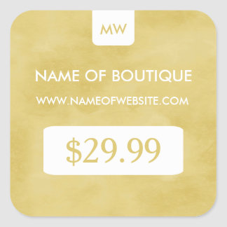 Simple Goldenrod Chic Boutique Monogram Price Tags Square Sticker