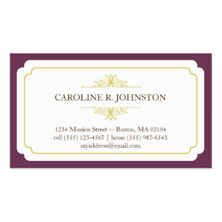Simple grace solid plum frame personal calling pack of standard business cards