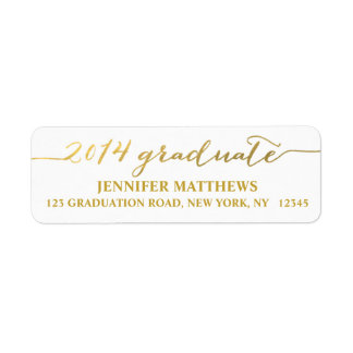 Simple Grad Gold Graduation Address Label