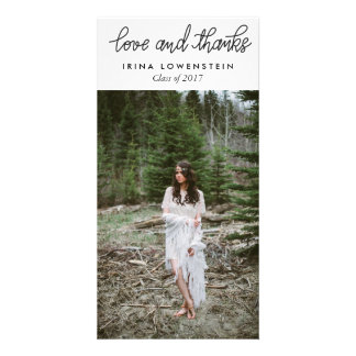 Simple Graduate Love And Thanks Typography Custom Photo Card