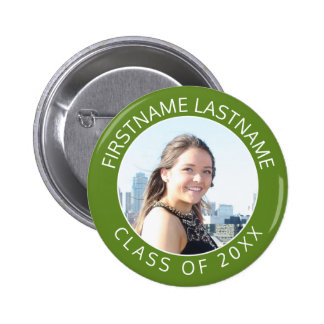 Simple Graduate Photo & Name Class of 2017 Green 6 Cm Round Badge