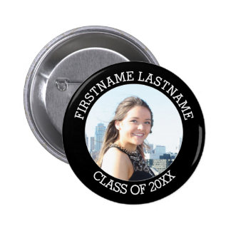 Simple Graduate Photo with Name and Class of 2017 6 Cm Round Badge