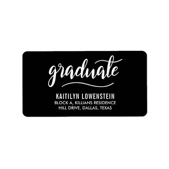 Simple Graduate White Handwritten Script Black Label