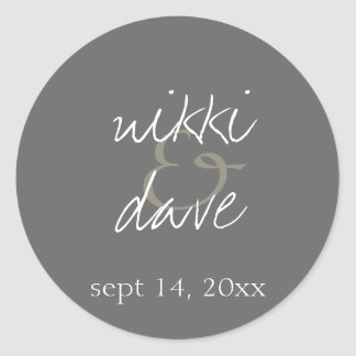 Simple gray handwritten wedding favor label seal round sticker