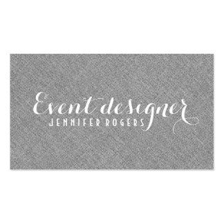 Simple Gray Linen Texture Look Double-Sided Standard Business Cards (Pack Of 100)